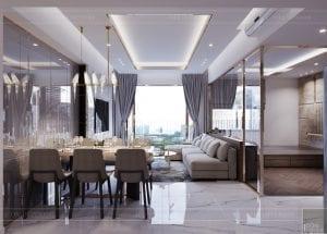 thiết kế căn hộ sunrise cityview - phòng khách bếp 1