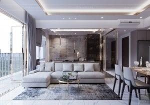 thiết kế căn hộ sunrise cityview - phòng khách