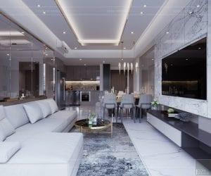 thiết kế căn hộ sunrise cityview - phòng khách bếp 4