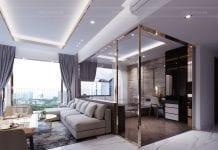 thiết kế căn hộ sunrise cityview - phòng khách bếp 3