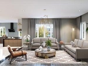 thiết kế nội thất biệt thự cao cấp - phòng khách bếp 2