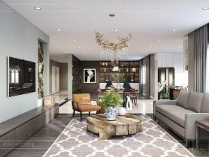thiết kế nội thất biệt thự cao cấp - phòng khách bếp 4