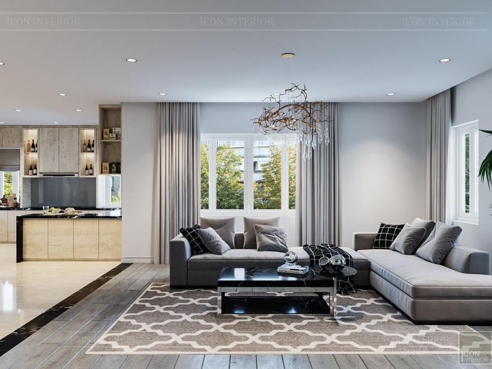 thiết kế nội thất biệt thự hiện đại - phòng khách bếp 10