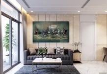 thiết kế nội thất chung cư 110m2 - phòng khách bếp 8