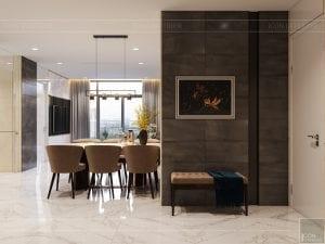 thiết kế nội thất chung cư 110m2 - phòng khách bếp 1