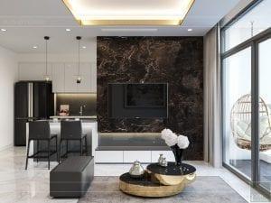 thiết kế nội thất chung cư 120m2 - phòng khách bếp 2