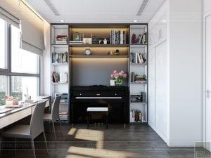 thiết kế nội thất chung cư 120m2 - phòng piano