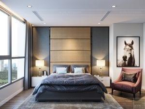 thiết kế nội thất chung cư 120m2 - phòng ngủ master 1