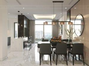 thiết kế nội thất chung cư 120m2 - phòng khách bếp 1