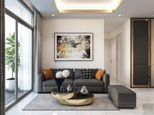 thiết kế nội thất chung cư 120m2 - phòng khách bếp 3
