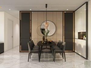 thiết kế nội thất chung cư 120m2 - phòng khách bếp 5