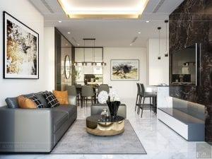 thiết kế nội thất chung cư 120m2 - phòng khách bếp 4