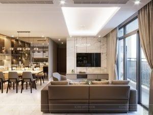 thiết kế nội thất đẹp hiện đại - phòng khách bếp 2