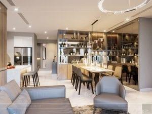 thiết kế nội thất đẹp hiện đại - phòng khách bếp 6