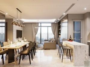 thiết kế nội thất đẹp hiện đại - phòng khách bếp 1