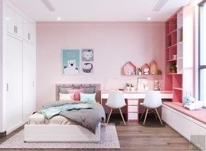 thiết kế nội thất đẹp hiện đại - phòng ngủ bé gái 2