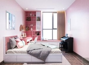thiết kế nội thất đẹp hiện đại - phòng ngủ bé gái 1