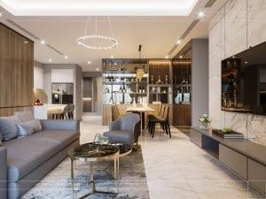 thiết kế nội thất đẹp hiện đại - phòng khách bếp 5