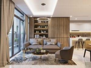 thiết kế nội thất đẹp hiện đại - phòng khách bếp 3
