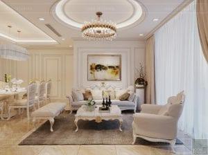 thiết kế nội thất lux 6 vinhomes golden river - phòng khách bếp 4