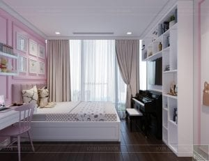 thiết kế nội thất lux 6 vinhomes golden river - phòng ngủ bé 1