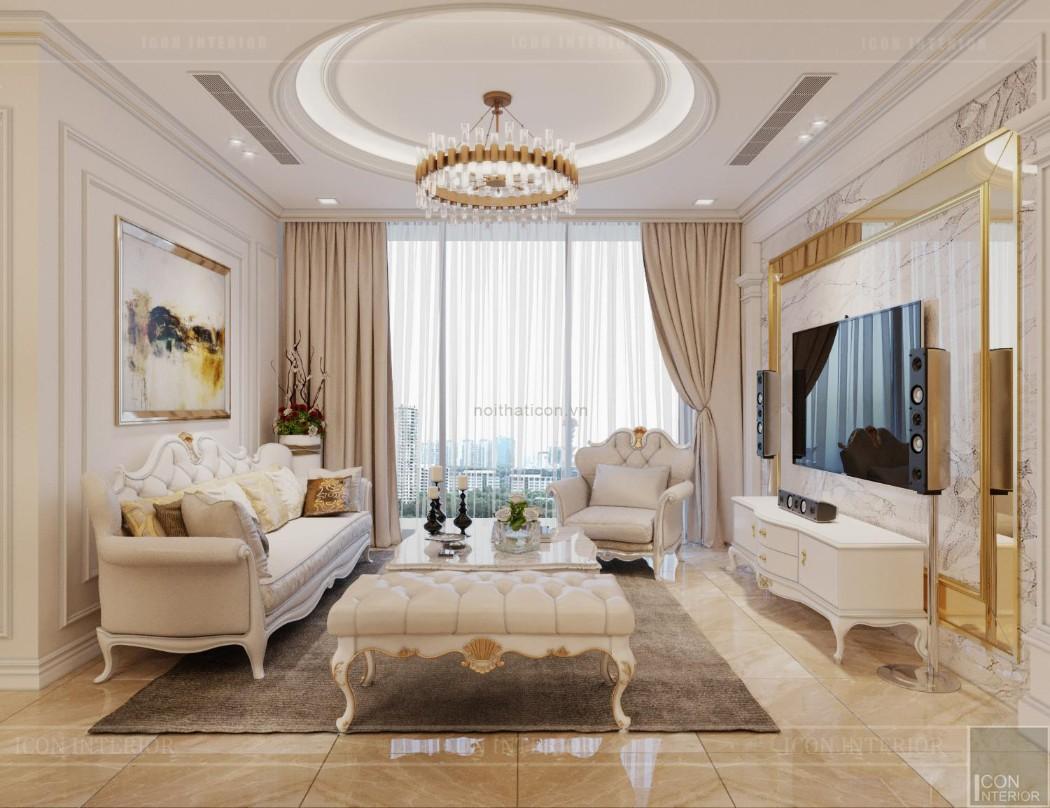 thiết kế nội thất lux 6 vinhomes golden river - phòng khách bếp 3