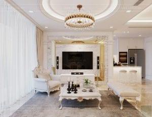 thiết kế nội thất lux 6 vinhomes golden river - phòng khách bếp 5