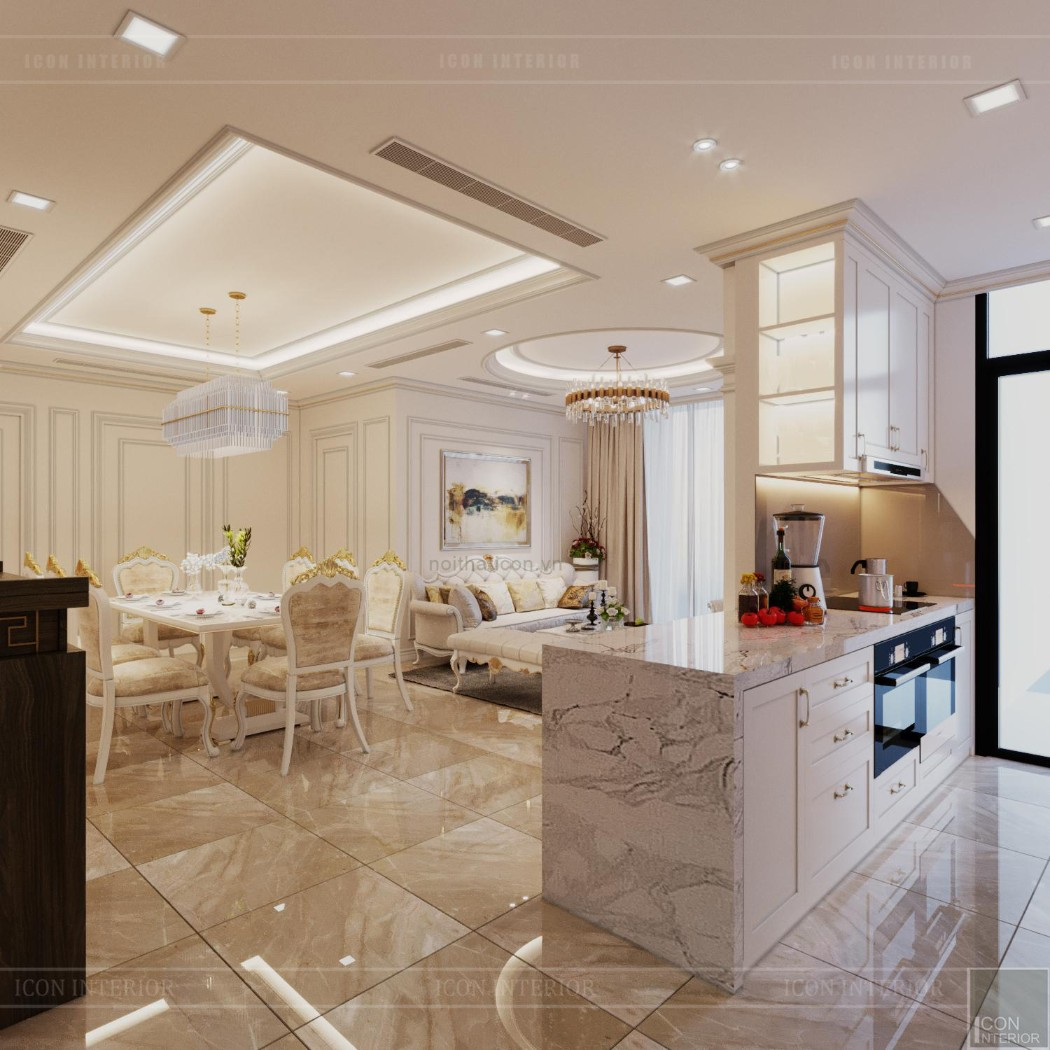 thiết kế nội thất lux 6 vinhomes golden river - phòng khách bếp 2