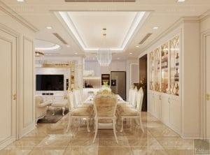 thiết kế nội thất lux 6 vinhomes golden river - phòng ăn 1