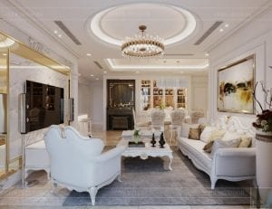 thiết kế nội thất lux 6 vinhomes golden river - phòng khách bếp 6