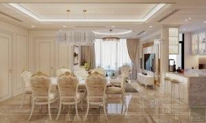 thiết kế nội thất lux 6 vinhomes golden river - phòng ăn 2