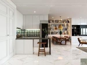 thiết kế nội thất căn hộ ocean vista - phòng khách bếp 1