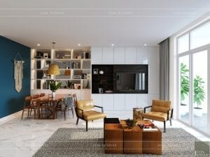 thiết kế nội thất căn hộ ocean vista - phòng khách bếp 3