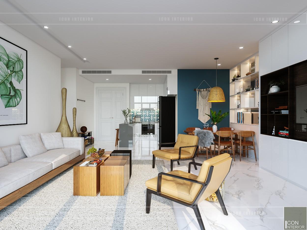 thiết kế nội thất căn hộ ocean vista - phòng khách bếp 5