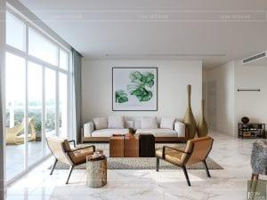thiết kế nội thất căn hộ ocean vista - phòng khách bếp 4