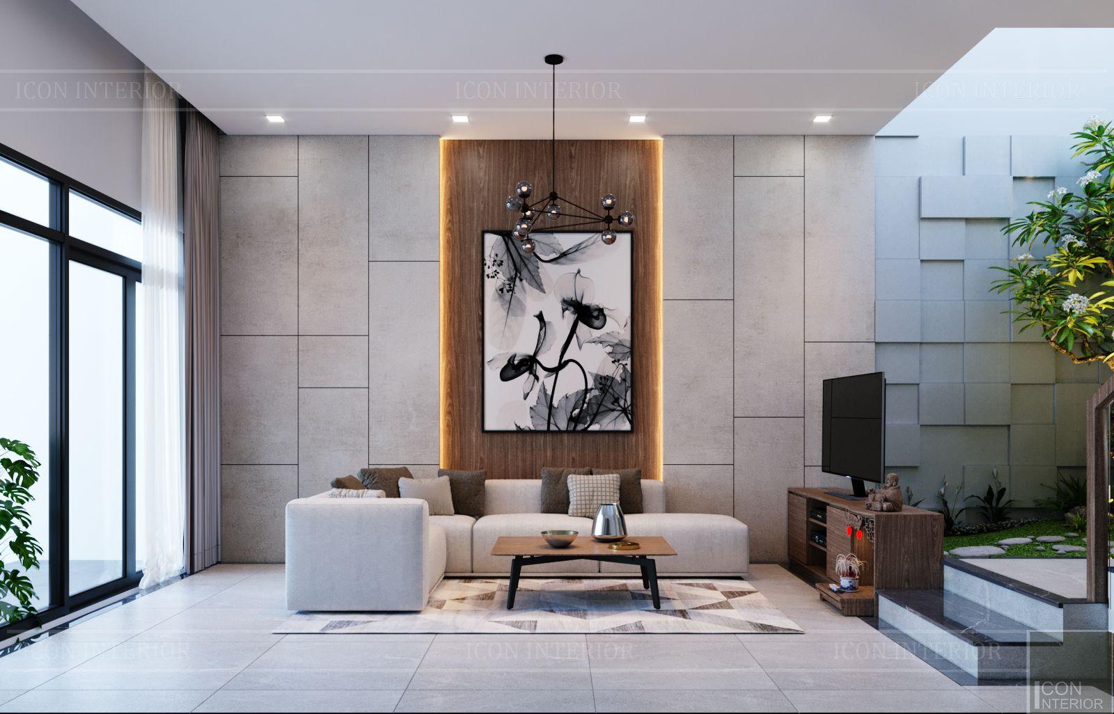 thiết kế nội thất nhà phố đẹp - phòng khách bếp 3