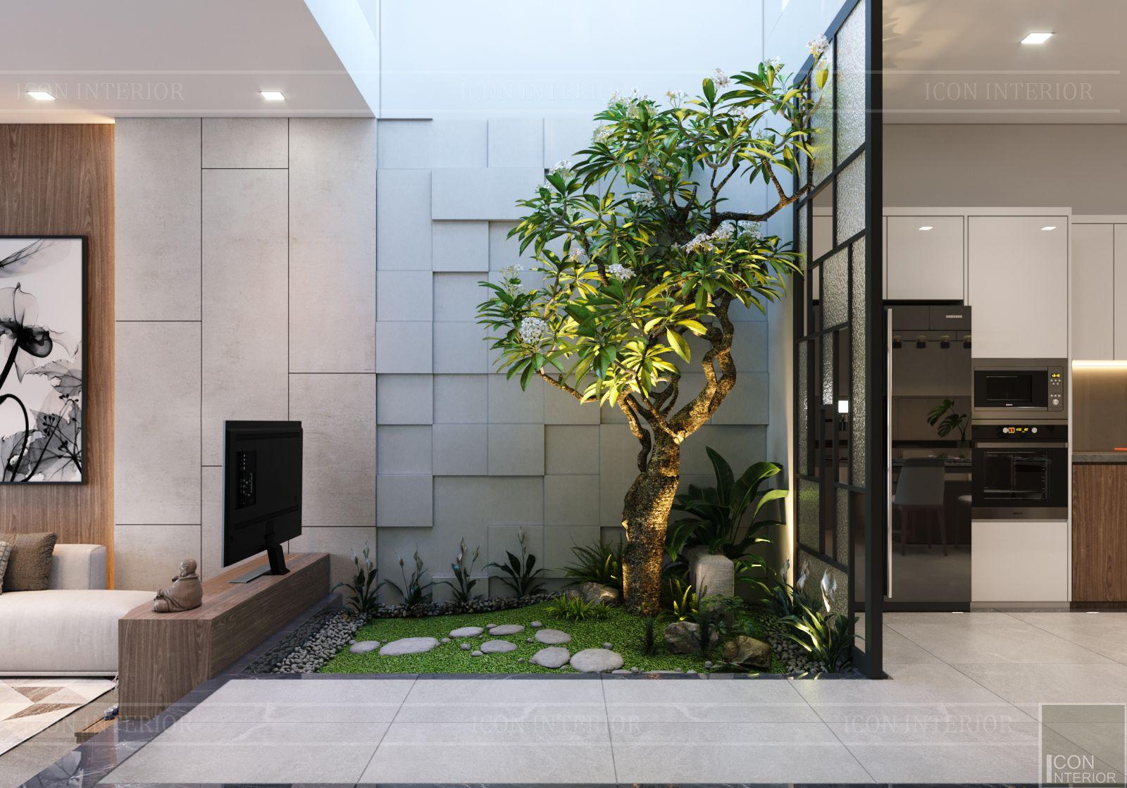 thiết kế nội thất nhà phố đẹp - giếng trời 1