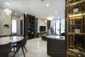 thi công căn hộ chung cư vinhomes ba son - phòng khách bếp 2