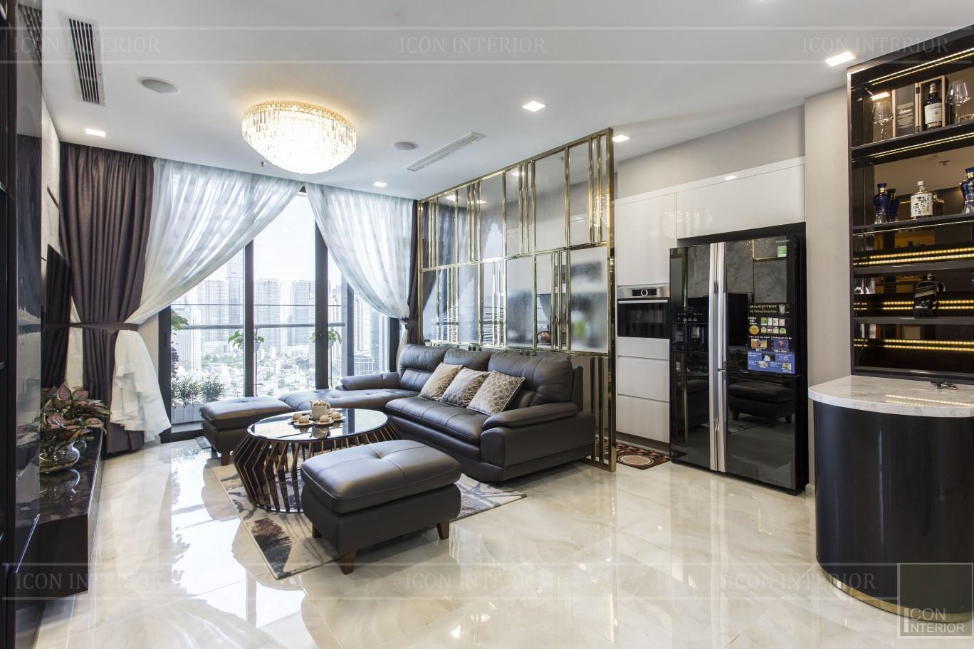 thi công căn hộ chung cư vinhomes ba son - phòng khách bếp 4