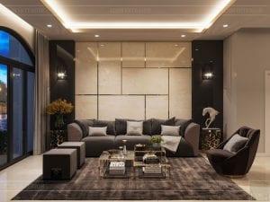 thiết kế nhà theo phong cách hiện đại - phòng khách bếp 3