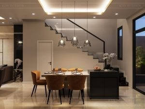 thiết kế nhà theo phong cách hiện đại - phòng khách bếp 4