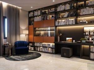 thiết kế nhà theo phong cách hiện đại - phòng đọc sách 1