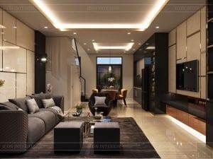 thiết kế nhà theo phong cách hiện đại - phòng khách bếp 1