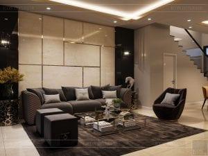 thiết kế nhà theo phong cách hiện đại - phòng khách bếp 2