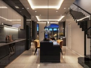 thiết kế nhà theo phong cách hiện đại - phòng khách bếp 5