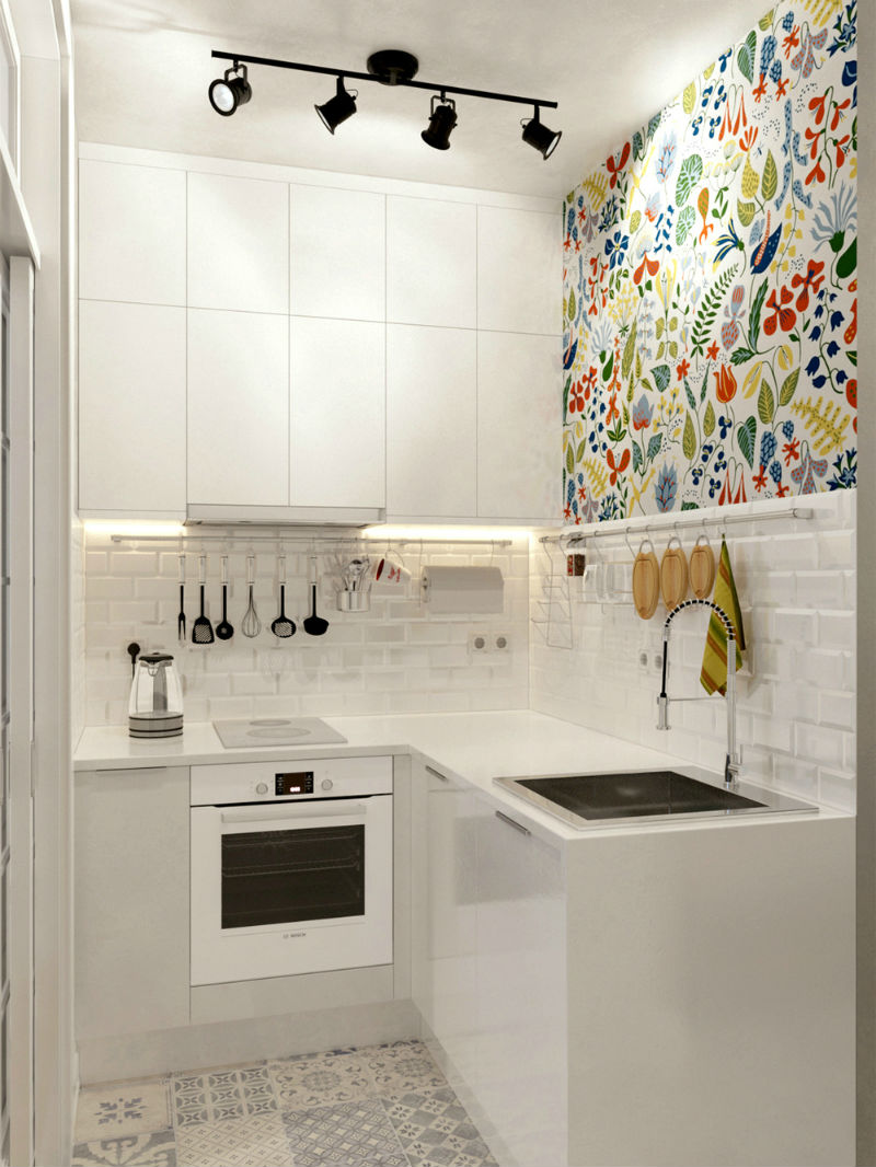 nội thất phòng bếp đơn giản với gạch ốp
