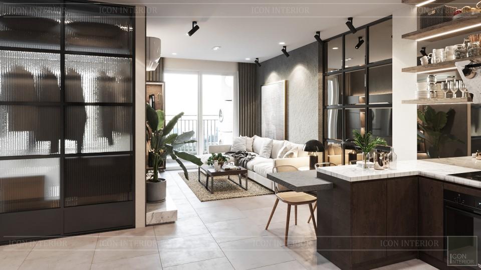 thiết kế nội thất phòng khách bếp chung cư 75m2