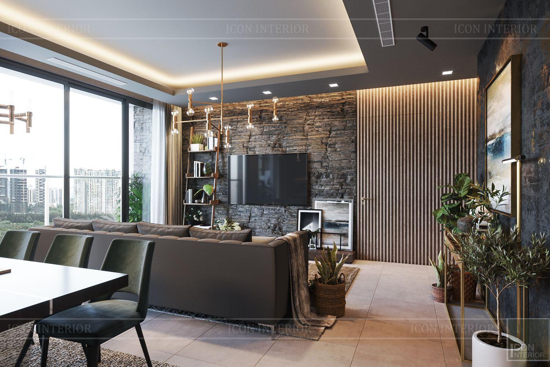 thiết kế căn hộ chung cư 3 phòng ngủ - phòng khách bếp 6