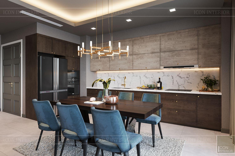 thiết kế căn hộ chung cư 3 phòng ngủ - phòng khách bếp 8