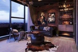 thiết kế căn hộ chung cư 3 phòng ngủ - phòng làm việc 1